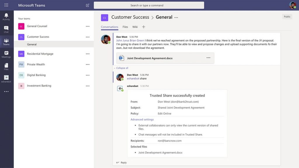 e-Share Bot for Microsoft Teams Compliantly Incorporates External Parties in Collaboration
