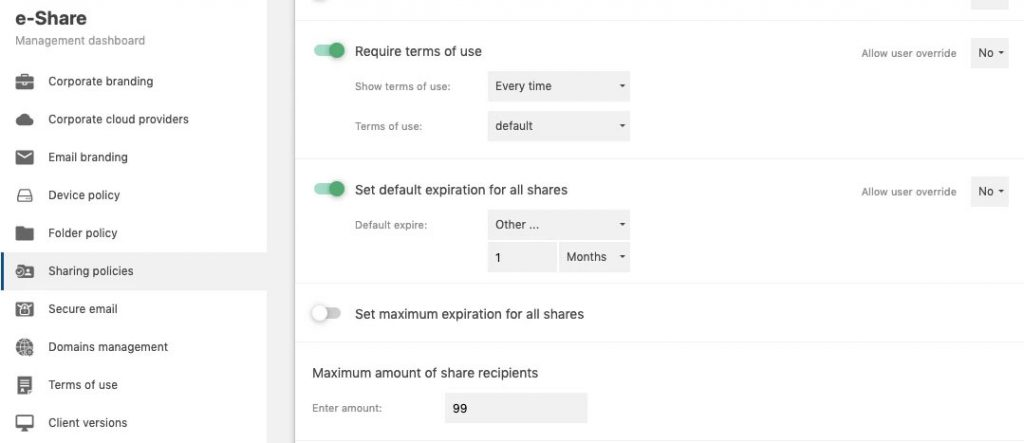 e-Share - Sharing policies
