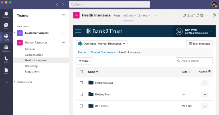 e-Share can be accessed directly from within Microsoft Teams